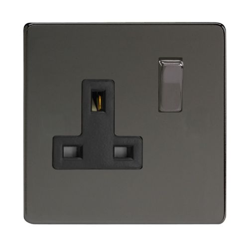 Varilight XDI4BS Screwless Iridium Black 1 Gang 13A DP Single Switched Plug Socket